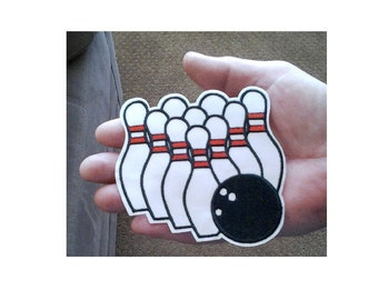 Bowling - Bowling Pins - Bowling Ball - Sports - Embroidered Iron On Patch