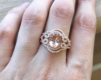 rose gold morganite ring morganite bridal ring set art deco engagement ring set - Morganite Wedding Ring Set