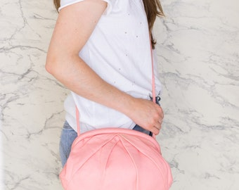 Pink leather bag | Leather cross body bag | Light pink leather purse | Soft leather bag | Handbag for summer