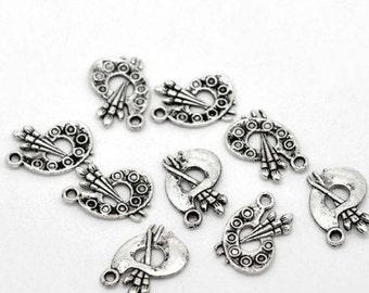 10 Pieces Antique Silver Palette Charms