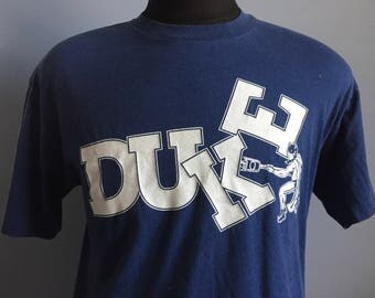 80s Vintage Duke University Blue Devils ncaa college T-Shirt - LARGE