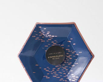 Small Navy & Rose Gold Speckle Paper Plates - Erika- Party Decor, Style, Home, Entertaining, Fall, Winter, Gold foil, Hexagon