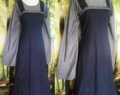 S Fitted Viking Apron Dress with Trim in Navy Cotton