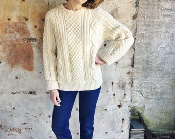 Deadstock Cream Irish Aran Knit 1970s Wool Sweater S M