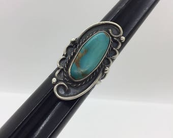Large Vintage Native American Indian Turquoise & Silver Ring, Stamped E ~ Size 8