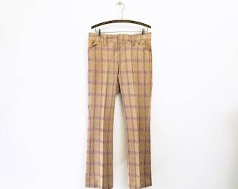 1970s Disco Era Men's Plaid Pants Vintage 70s Leisure Suit Era Burgundy & Tan Plaid Knit Polyester Trousers by COOSA Knits - Size MEDIUM