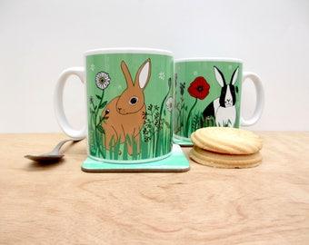 Rabbit mug, featuring a Rex rabbit and  a Dutch rabbit