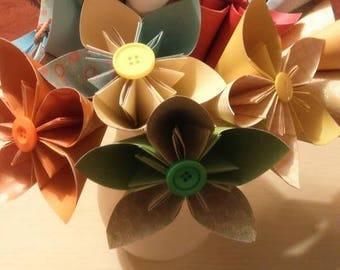 Multi coloured paper flowers