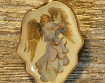Angel and Dove Vintage Tie Tack Hat Lapel Pin