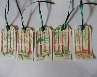 Hand Painted Gift Tags, Morel Forest, Watercolor, hostess gifts, woodland bookmarks ,Fine Art Watercolor,by Sharon at HikingTrails