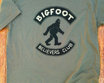 Bigfoot Believers Club T-shirt, Sasquatch, Funny, Camping, Cryptozoology, Nerd, Weird, Outdoors, Legend, gifts for him, gifts for her