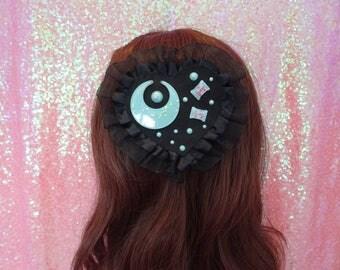 Pastel Goth Dark Kawaii Mint Moon Two Way Hair Clip & Brooch Pin