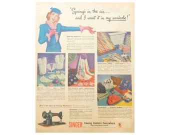 Sewing Room Decor - Vintage Singer Ad - 1944 Magazine Wall Art