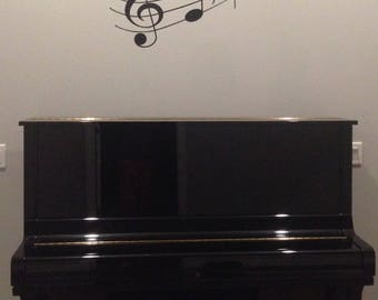 Music Staff and notes, Music Decal, Musical Notes Wall Decal, Music Staff Wall Sticker, Living Room,  Music Piano Studio HH2069