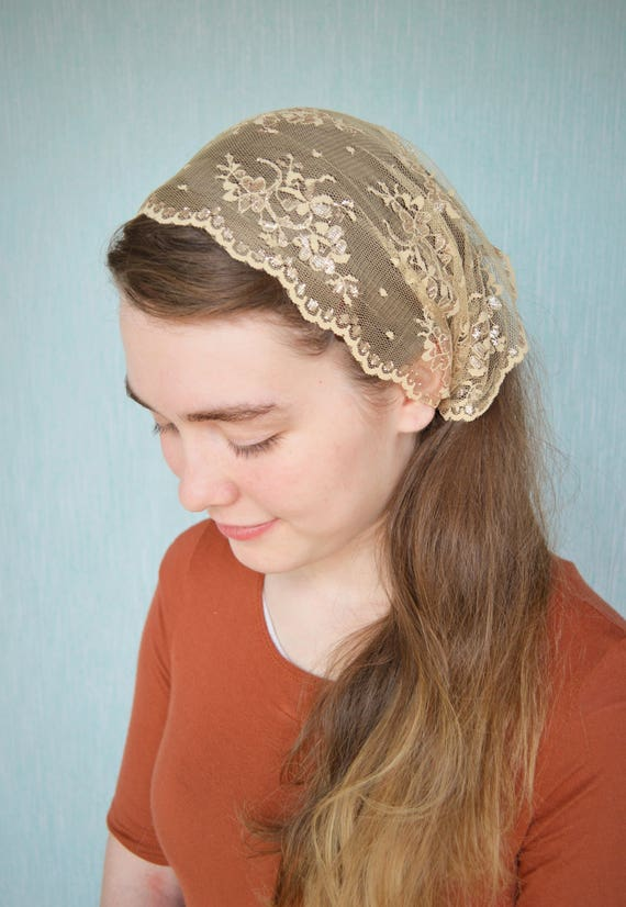Shimmering Gold Lace Convertible Veil | Head Covering with Ties Gold Mantilla Gold Veil for Mass Veils Robin Nest Lane Catholic Chapel Veil