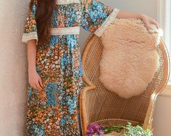 vintage 1970s orange & blue floral angel sleeve maxi dress