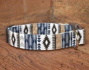 Aztec Dog Collar - Navy/Tan/Brown Aztec Print