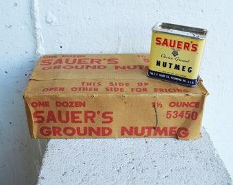 Vintage Dozen of Sauer's Choice Ground Nutmeg Tins with Original Package