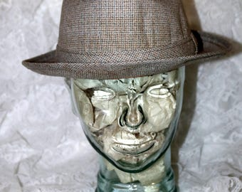 Vintage Men's Fedora Hat  - Beige Blue Plaid - Made in USA - JCPenney Co. - Size XL 7 1/2 - 7 5/8