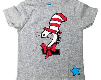 Custom Cat in the Hat Inspired birthday shirt Dr Seuss Inspired Birthday number Shirt with Name on Back Tee