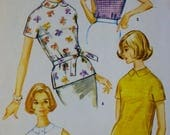 1960s Pullover Blouse, Overblouse, McCalls 5945 Vintage Sewing Pattern, Bust 36