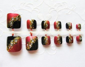 24 Set Fake Toenails / False Toenails / Press on Toenails / Fake Nails / Toe Nail / Press on / Rhinestone / Glitter / Nails / Pedicure