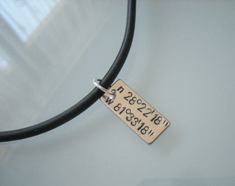 Coordinates necklace, Boyfriend gift, Men necklace, Custom gift, Gift For Him, jewelry for man, Man pendant, Anniversary gift