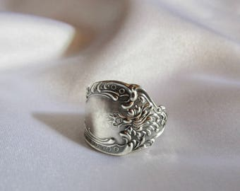 Victorian Lace Spoon Ring Sterling Silver Band Antique 1904 Spoon Ring Gift for Her by Treasure Grotto