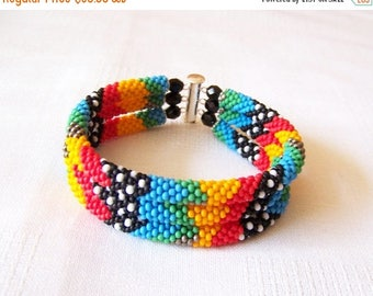 15% SALE 3 Strand Colorful  Multicolor Bead Crochet Bracelet - Bright Geometrics