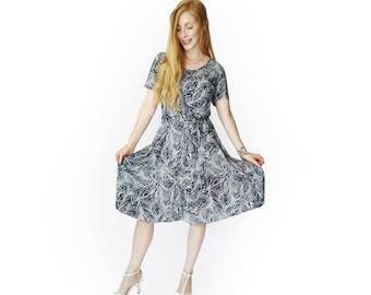 Midi dress with sleeves, Gray dress, Summer dress women, Leaf dress, Viscose dress, Sleeve dress, party dress, Casual dress, Unique dress