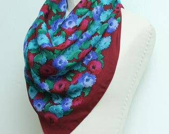 Neon Floral Print Scarf // Large Wool Bold Print Head Scarf // Blue Purple Green Maroon Hipster Bohemian Neck Accessory