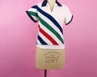 VTG 70s Multi Color Diagonally Striped Polo Shirt, Retro, Tennis, Beach