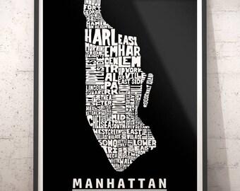Manhattan map art, Manhattan art print, Manhattan typography map, Manhattan neighborhood map with title, several color options