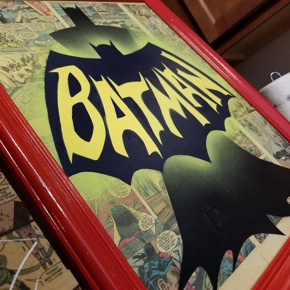Original Batman Painting over Collage of Actual Comic Pages