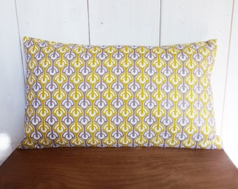 Cushion cover 50 x 30 cm deco Scandinavian fabric geometric yellow and gray