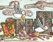 Lobster Pots A5 Postcard Gulls Seagulls Buoys Rope Beach