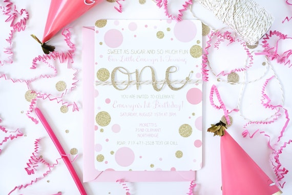 Pink and gold first birthday invitation Baby Girl 1st Birthday