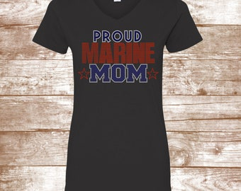Proud Marine Mom - Marine Shirt - Armed Forces - Military Support- Marine Son - Marine Daughter - Soldier - Stars - Bling - Shirt - Ladies