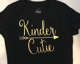 Girl's Kindergarten shirt - Kinder Cutie - back to school girls shirt - kindergarden shirt - kinder tee shirt - girl's kindergarten tee