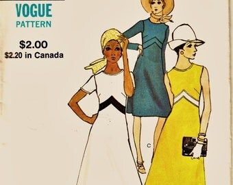 70's Chic Retro Vogue Pattern 8020 Empire Detail Sleek Dress w 3 Sleeve Lengths Sz 12 Uncut FF Vintage Sewing Patterns Supplies
