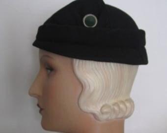 Fifi -  1930's Black Wool Felt Cloche Hat with Art Deco Decoration