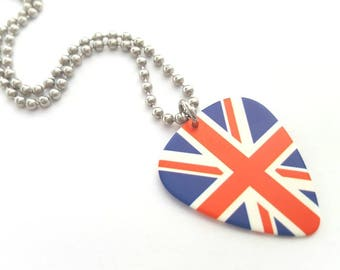 British Flag Guitar Pick Necklace with Stainless Steel Ball Chain - Great Britain - England
