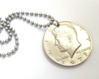 1972 JFK Half Dollar Coin Necklace - Stainless Steel Ball Chain or Key-chain