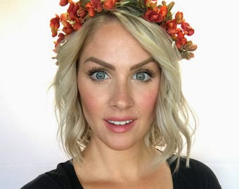 The Autumn - Fall Floral Succulent Greenery Floral Crown Head Wreath Halo