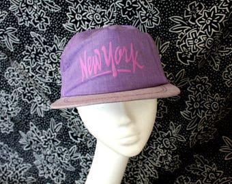 Vintage Funky 90s New York Souvenir Snapback Baseball Cap. Bitchin Purpe Hip Hop New York Funky Souvenir Hat. Hipster Dad Hat