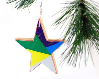 Recycled Skateboard Star Ornament