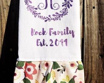 Large Pink Foil Wreath Monogram Flour Sack Towel with Ruffle