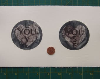 Valentine III - tiny unframed diptych mezzotint/etching original intaglio print by Carrie Lingscheit