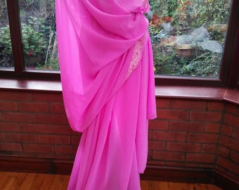 Indian Saree Sari complete with top Bollywood beauty lndie morrocan wedding chiffon embroidered beaded & sequined