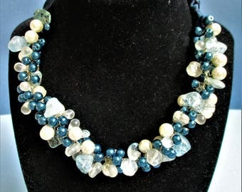 Beaded Necklace Blue Beads Faux Pearls Clear Blue Gemstone Navy Blue Glass Beads Vintage Fancy Necklace Adjustable Ribbon Fashion Necklace